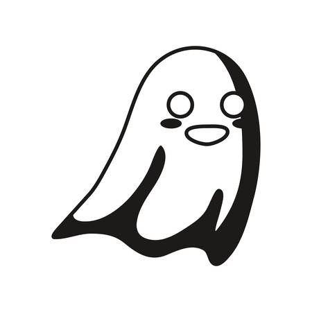 halloween ghost icon over white background, vector illustration