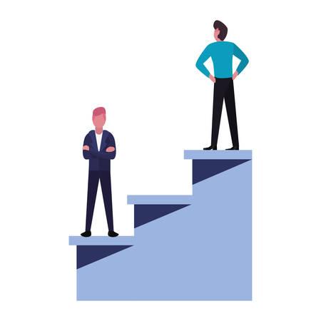 businessmen team top stairs success vector illustration Stock Illustratie