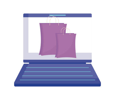 laptop with shopping bag isolated icon vector illustration design Иллюстрация
