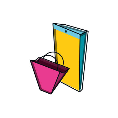 shopping bag with smartphone device vector illustration design Иллюстрация