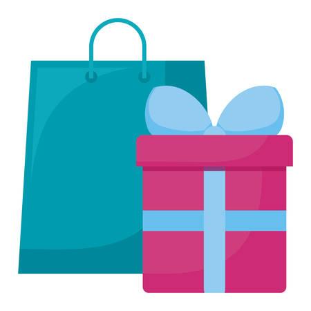 shopping bag with gift box vector illustration design Stockfoto - 129230239