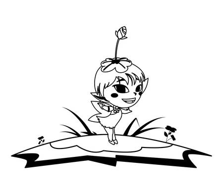 beautiful magic fairy in the camp vector illustration design Standard-Bild - 129230330