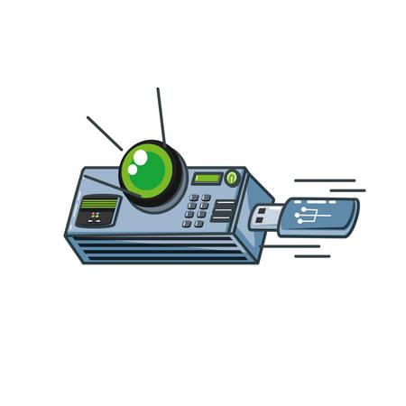 video beam projector with usb memory vector illustration design Иллюстрация