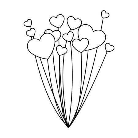balloons helium with heart shape vector illustration design