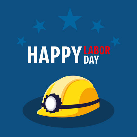 labor day card with safety helmet and stars vector illustration design