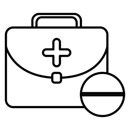 medical kit with pill vector illustration design