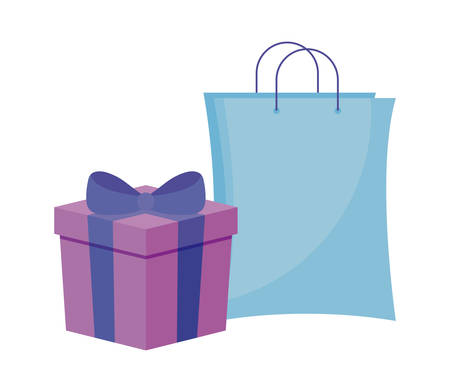 shopping bag with gift box isolated icon vector illustration design