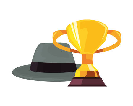 hat trophy cup happy fathers day vector illustration