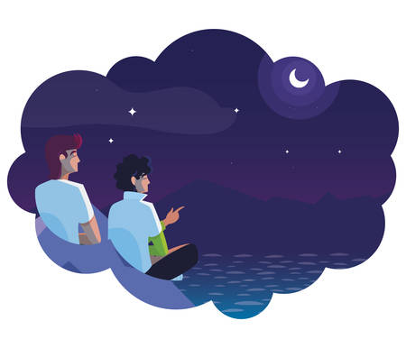 men contemplating horizon in lake and mountains at night vector illustration design