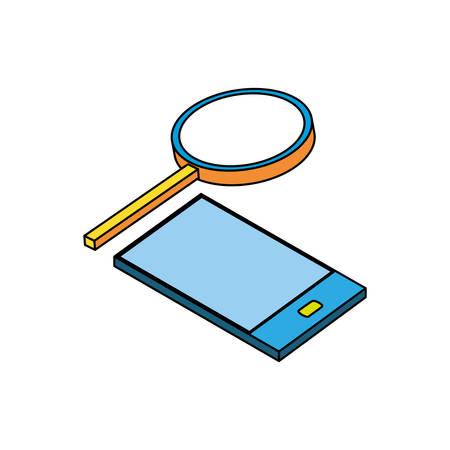 smartphone with magnifying glass vector illustration design Archivio Fotografico - 129144624