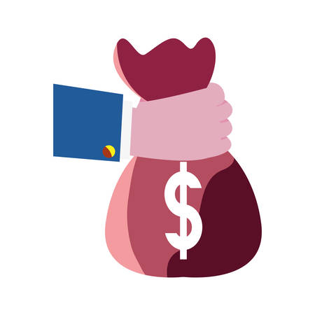 hand holding money bag investment vector illustration