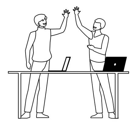 couple of businessmen in the office scene vector illustration design Stock Illustratie