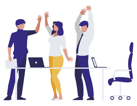 business people teamwork in the office scene vector illustration design Stock Illustratie