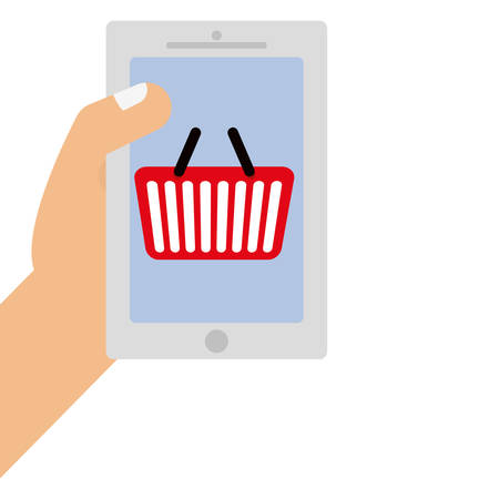 smartphone device with shopping basket vector illustration design