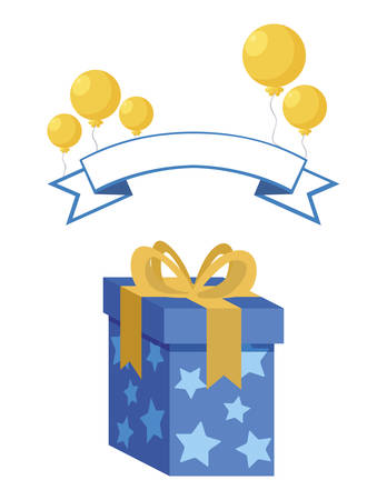 gift box present with balloons helium vector illustration design Stockfoto - 129231495