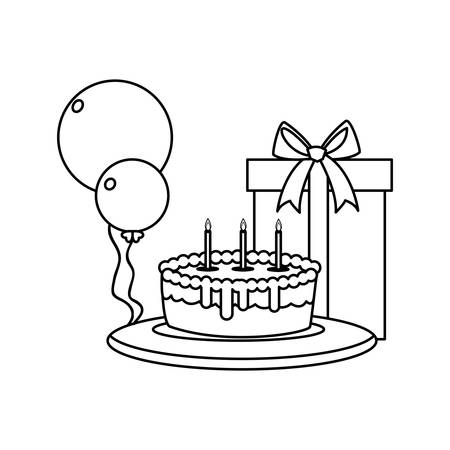 gift box present with balloons helium and sweet cake vector illustration design Stockfoto - 129231932