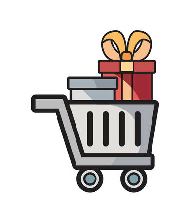 online shopping cart gifts on white background vector illustration