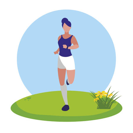 athletic woman running in the camp vector illustration design 일러스트