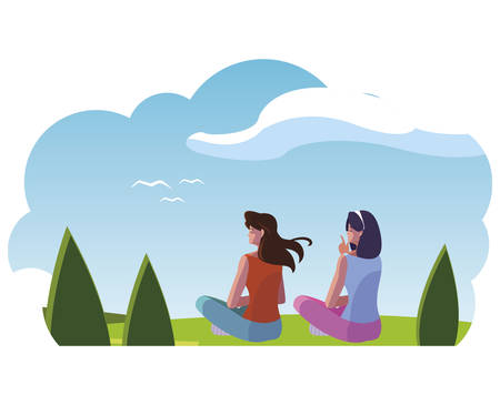 women couple contemplating the horizon in the field scene vector illustration design