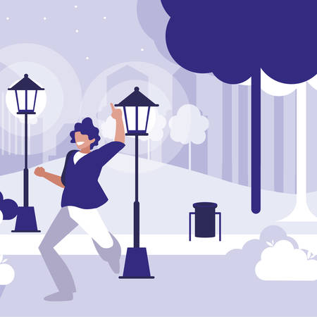 young dancer disco style in the park vector illustration design Ilustracja