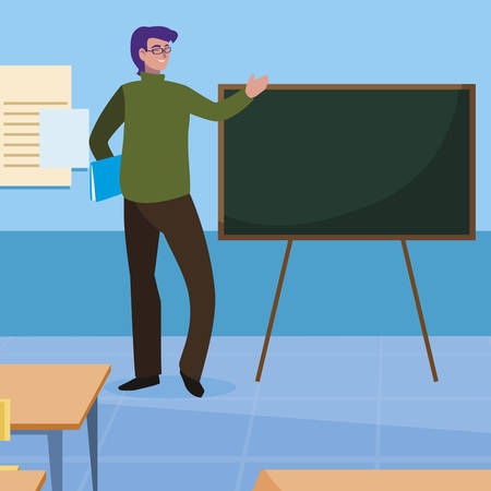 teacher male in the classroom character vector illustration design 向量圖像