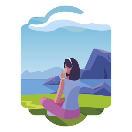 woman contemplating the horizon in the field scene vector illustration design Illustration