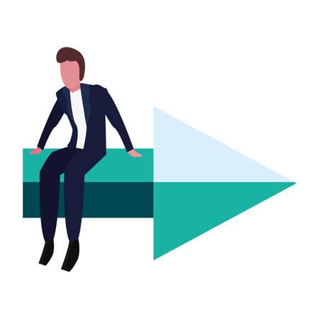 businessman sitting on arrow on white background vector illustration
