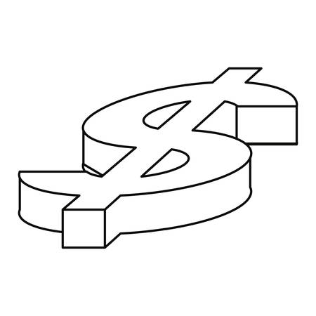 dollar sign on white background vector illustration design 일러스트