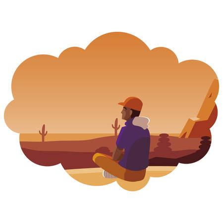 afro man contemplating horizon in the desert scene vector illustration design Illustration