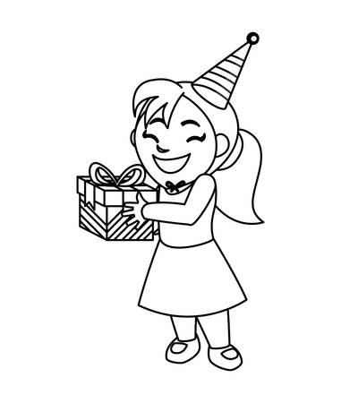 cute happy girl with birthday gift vector illustration design
