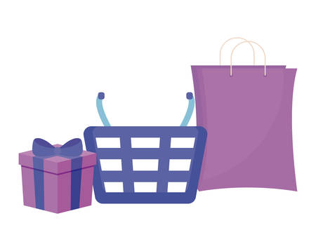 basket with bag shopping and gift box vector illustration design