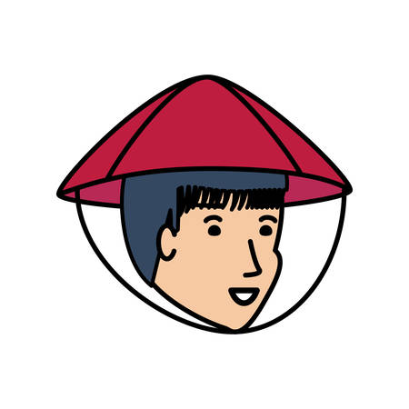 head of man chinese peasant avatar character er vector illustration design