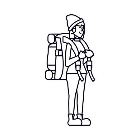 traveler woman with travel bag avatar character vector illustration design Stock Illustratie