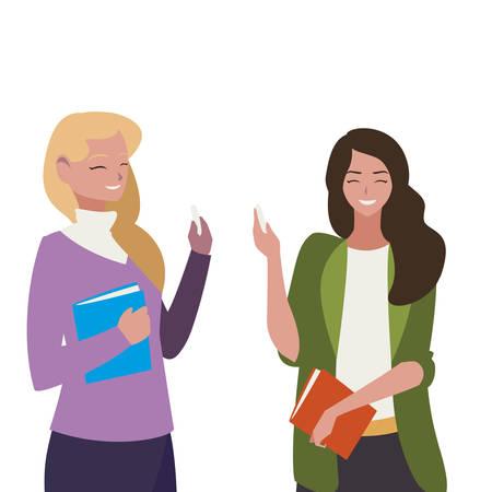female teachers couple with textbooks characters vector illustration design Ilustración de vector