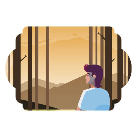 man contemplating horizon in the forest scene vector illustration design