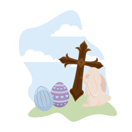 cute rabbit with eggs of easter and cross catholic vector illustration design Stock Illustratie