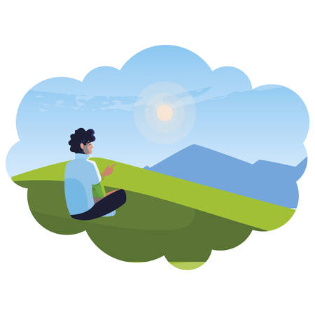 man contemplating the horizon in the field scene vector illustration design
