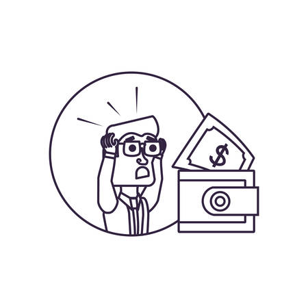 businessman in frame circular with wallet and bill vector illustration design