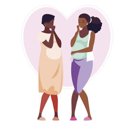 couple of afro pregnancy women in heart vector illustration design Illustration