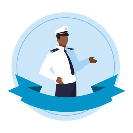 Seemann Kapitän Marine Charakter Vektor Illustration Design