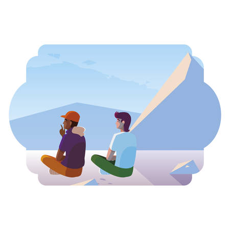 men couple contemplating horizon in snowscape scene vector illustration design Ilustracja