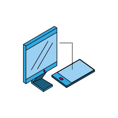 smartphone with desktop computer vector illustration design