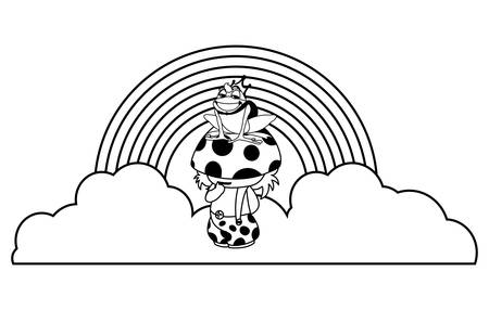 toad prince and fungu elf with rainbow vector illustration design Stock Illustratie