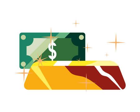 gold bar banknote money business vector illustration