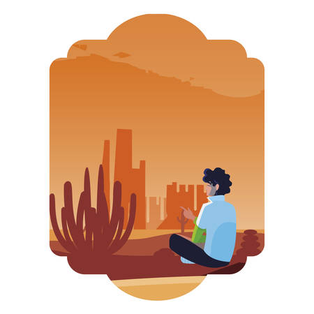 man contemplating horizon in the desert scene vector illustration design Illustration