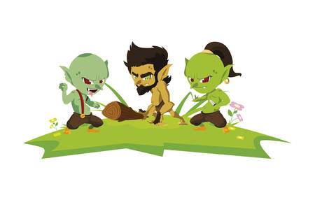 ugly trolls with caveman gnome in the camp magic characters vector illustration 일러스트
