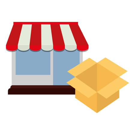 store facade building with carton box vector illustration design Иллюстрация