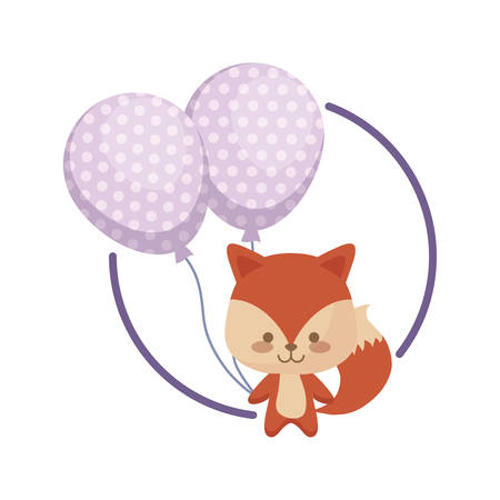 cute fox with balloons helium vector illustration design Archivio Fotografico - 129177194