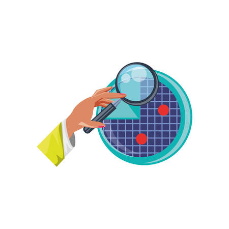 hand with magnifying glass and radar vector illustration design Çizim