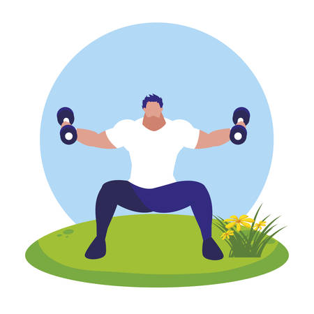 athletic man weight lifting in the camp vector illustration design Çizim